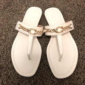 Coach white thong sandals size 11